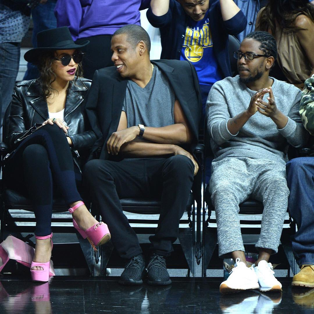 Beyonce, Jay Z, And Kendrick Lamar Courtside At The
